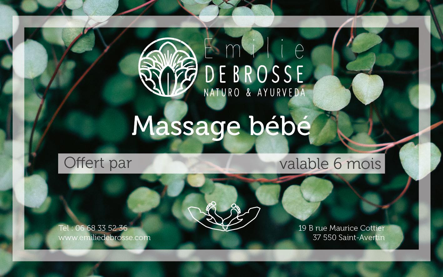 chèque cadeau pour le massage bébé